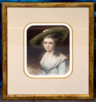 19th watercolour with decorative matting and gilt frame